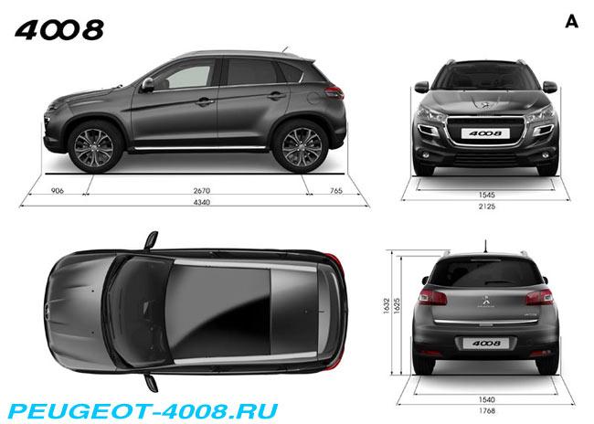 Основные размеры внешние габариты Peugeot 4008